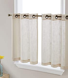 HLC.ME Abbey Faux Linen Textured Semi Sheer Privacy Light Filtering Transparent Grommet Short Thick Cafe Curtain Tiers for...