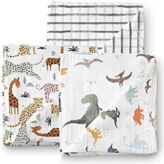 Aenne Baby Dinosaur Safari Grid Muslin Swaddle Blankets 3 Pack Large 47 x 47 inch, Baby Shower Gifts