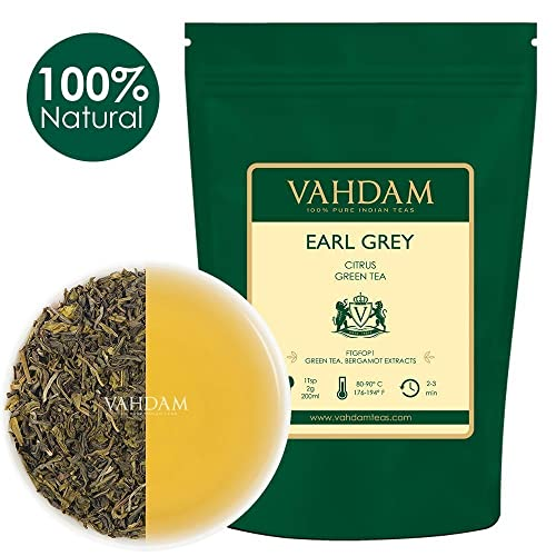 Earl Grey Green Tea Leaves from Himalayas (100 Cups) 100% Natural Detox Green Tea blended with Aromatic Bergamot,HEALTHY & DELICIOUS, Powerful Anti-Oxidants, Fresh Harvest, 3.53oz (Set of 2)