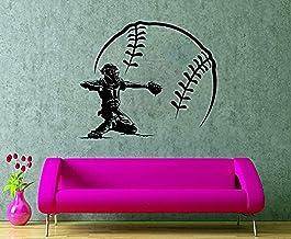 Wall Vinyl Decal Baseball Player Sticker Baseball Catcher Poster Boy's Room Sport Decoration Decor HDS9924