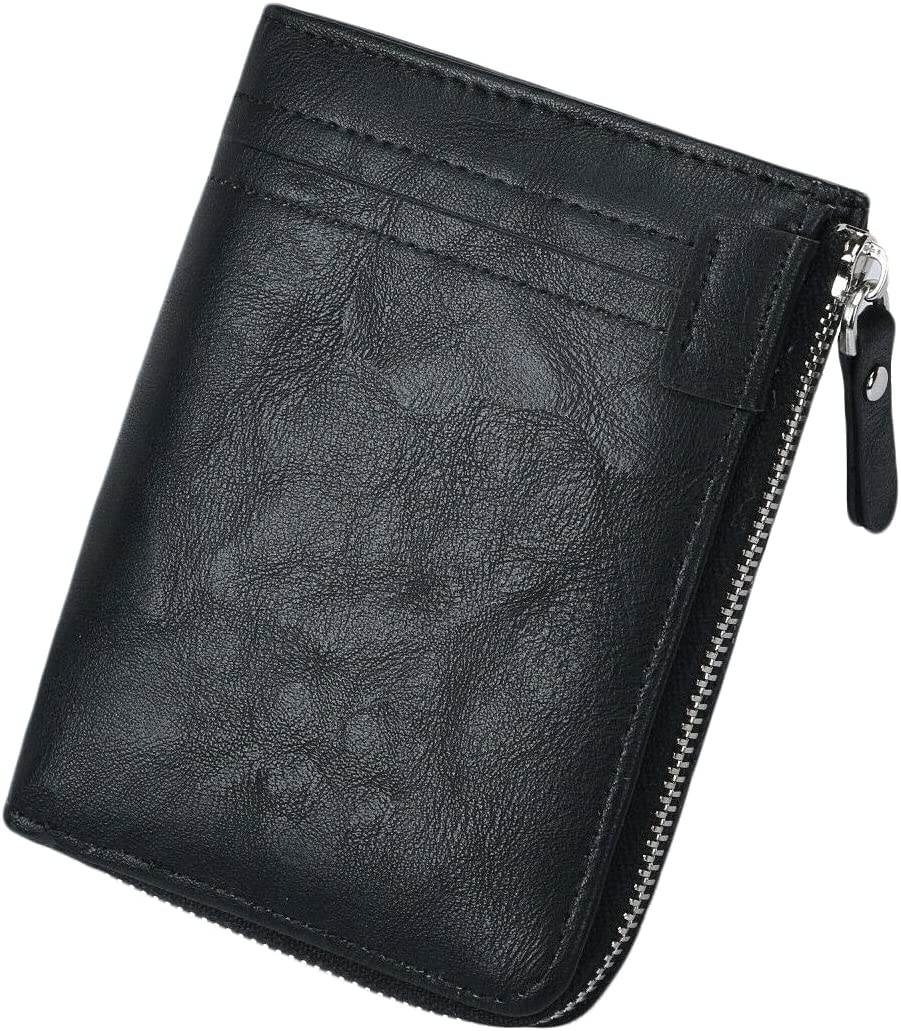 Leather Bifold Wallet For Mens RFID Blocking ID Window Zipper Pocket (Black)