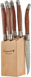 Laguiole By FlyingColors Steak Knife Set, Micro Serrated Blade, Stainless Steel, Wood Block, Wood Handle, 6 Pieces