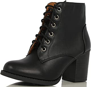 Women's Korman Faux Leather Lace Up High Chunky Heel Ankle Booties