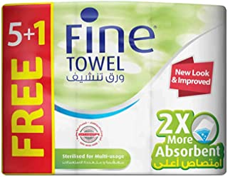 Fine Towel 2X More Absorbent Sterilized Tissue Rolls - Pack of 6 Rolls (6 x 60 Sheets x 2 Ply)