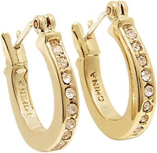 COACH Loop Gold Tone Huggie Earrings in a Coach Box - F54497 GLD