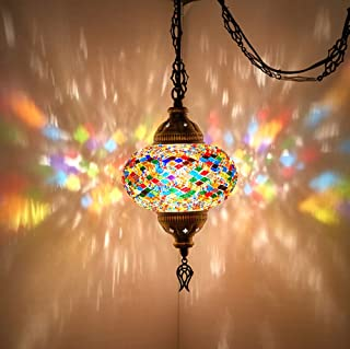 (8 Colors) DEMMEX Turkish Moroccan Mosaic Swag Plug in Pendant Ceiling Hanging Light with 15feet Cord Decorated Chain & North American Plug (Multicolor - 6
