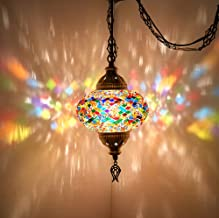 (Choose from 12 Designs) Turkish Moroccan Mosaic Glass Chandelier Lights Hanging Ceiling Lamps (Large - 4) (Large-2)