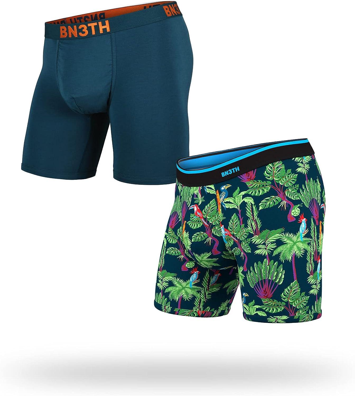 BN3TH Men's Boxer Briefs - Underwear with MyPakage Pouch, Cascade/Birds 2 Pack