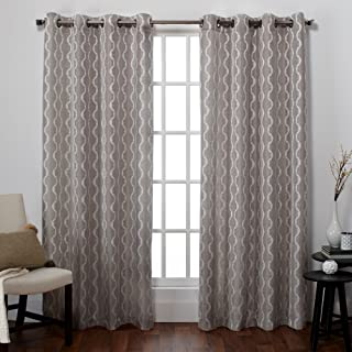 Exclusive Home Curtains Baroque Textured Linen Look Jacquard Window Curtain Panel Pair with Grommet Top, 54x96, Pewter, 2 Piece