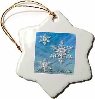 3dRose orn_37011_1 Sung Tan Chuk Ha Merry Christmas in Korean Snowflake Decorative Hanging Ornament, Porcelain, 3-Inch