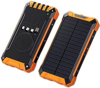Solenergibank 20000 mAh levereras med fyrtrådig trådlös laddning av solenergi med stor kapacitet, vattentät mobil strömför...