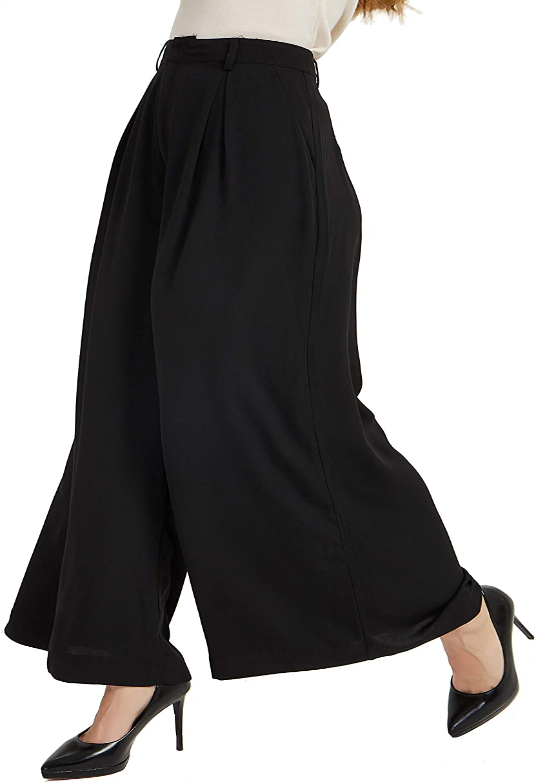 Tronjori Women High Waist Casual Wide Leg Long Palazzo Pants Trousers Regular Size