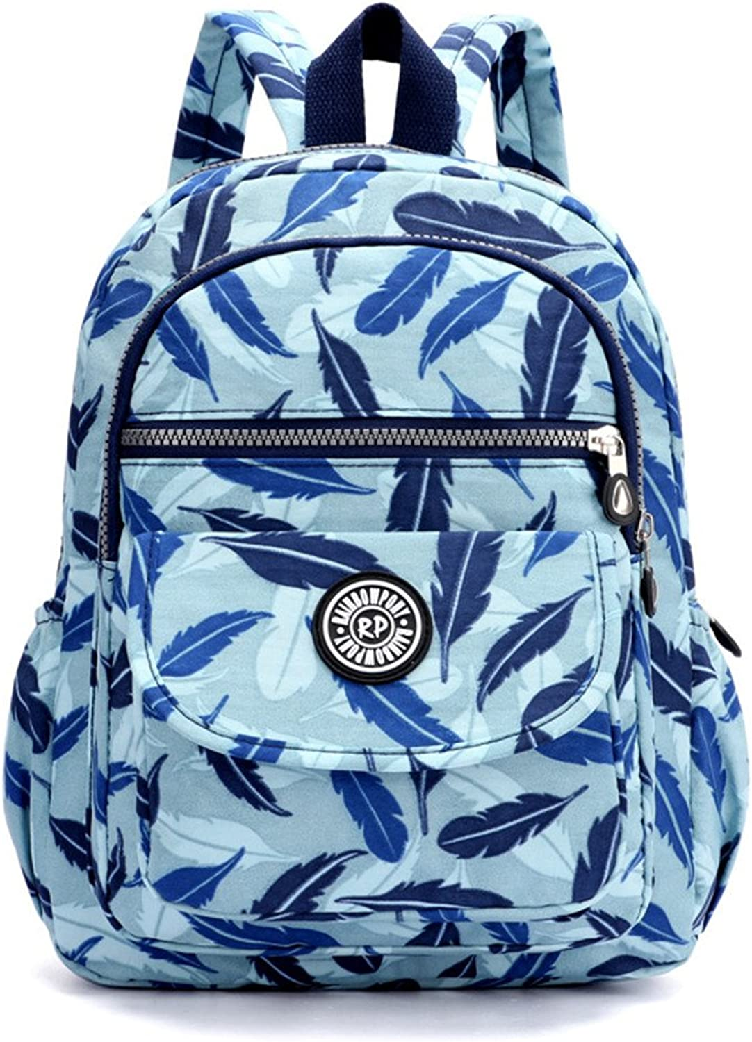 Zhrui Backpack Woman Travel Waterproof Backpack Girl Casual Top Sport (color   bluee Feather, Size   One Size)