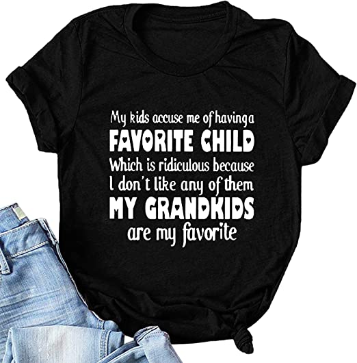 Womens Loose Tops, My Kids Accuse Me Letter Printed Casual Blouse Tops Short Sleeve Graphic T Shirts