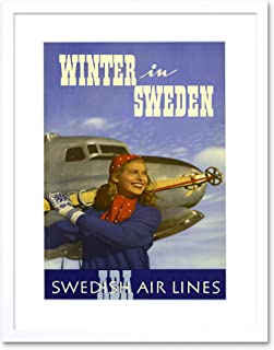 Winter Sport Skiing Sweden Swedish Airline AD Frame Art Print Picture F12X1550