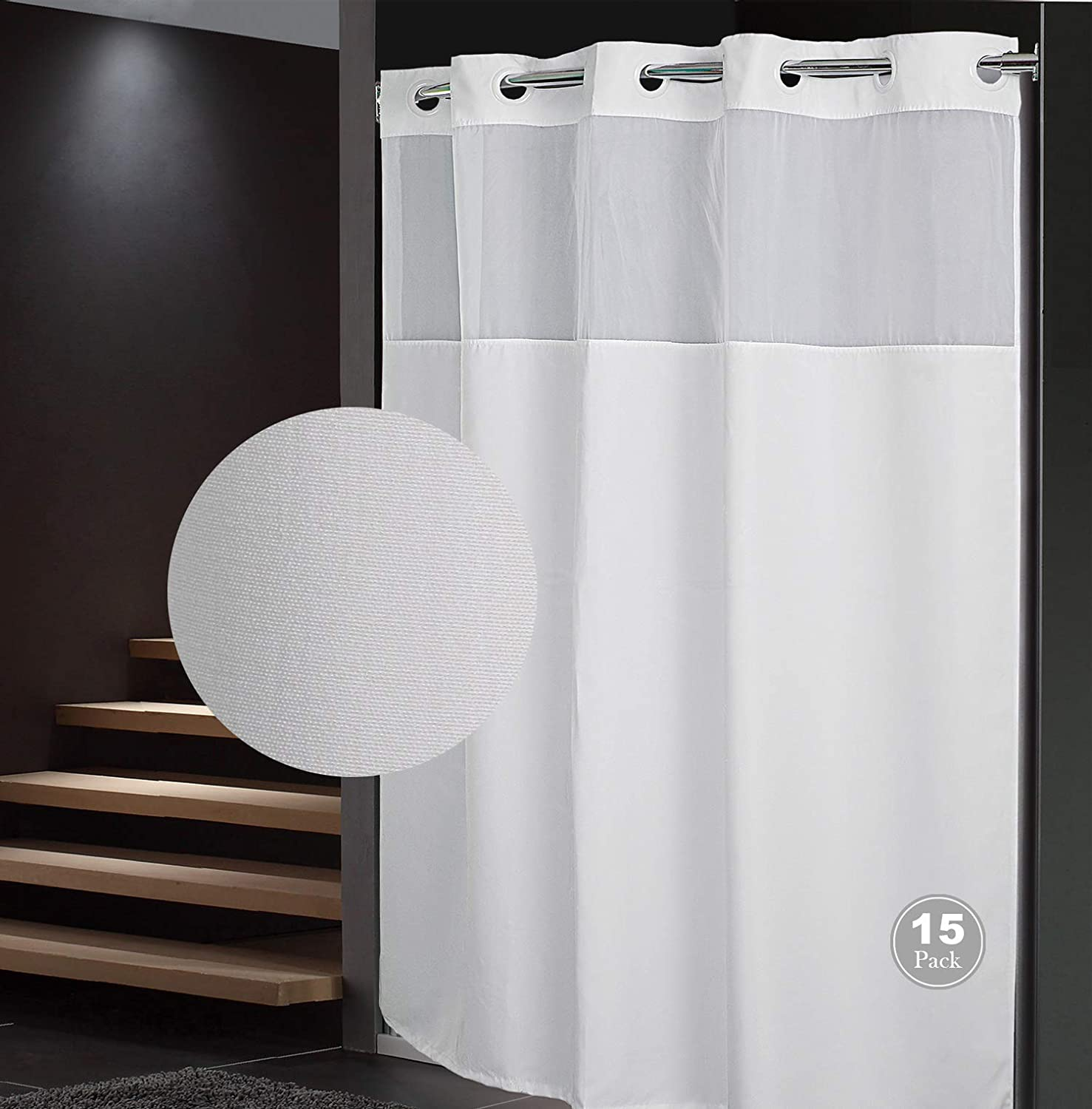 QKHOOK Shower Curtain depot with Snap in Liner Packs Pla 15 Max 48% OFF 71x74 Inch