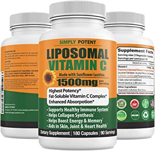 Liposomal Vitamin C 1500mg, 180 Capsules, Enhanced Absorption Fat Soluble Ascorbic Acid VIT C, Liposomal Vitamin C Liquid ...