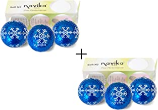 Navika Golf Balls Xmas Blue Metallic with Snowflakes all around print (sleeve of 3) 2 PACK - Bling Balls! By