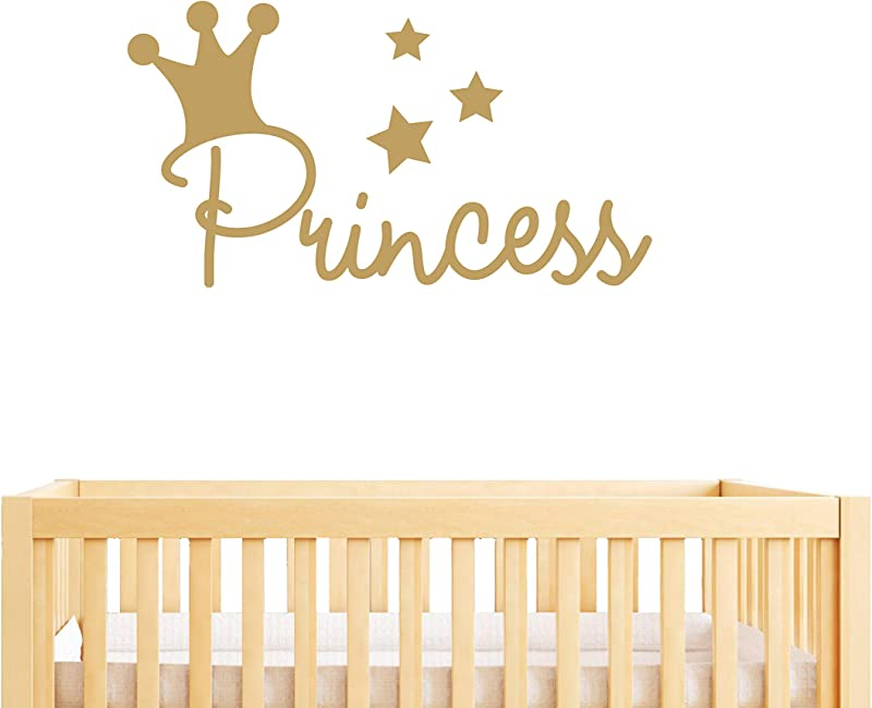 Princess Wall Decal Nursery Wall Decal Girl Nursery Decals Crown Wall Sticker Decals For Nursery Stars Wall Stickers Vinyl Decals For Girl Room Y18 57X31 Matte Gold