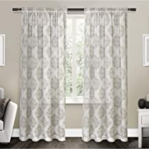 Exclusive Home Curtains Nagano Medallion Belgian Linen Window Curtain Panel Pair with Rod Pocket, 54x96, Taupe, 2 Piece