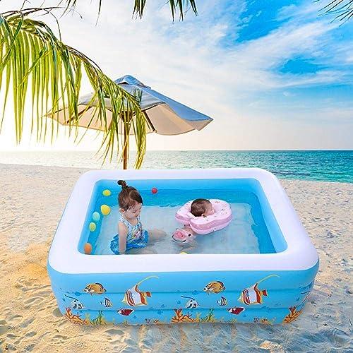 bulrusely Aufblasbarer Pool Riesen Aufblasbarer Pool Kinder Wasser Spielzeug Erwachsene Rechteckige Aufblasbare Für Sommerfest Kinder Schwimmb r Für 1-3 Personen 180 140 6cm
