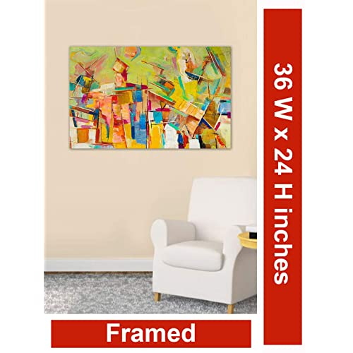 999Store Wooden Framed Printed Abstract Colourful Canvas Painting (36X24 Inches)