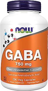 NOW Supplements, GABA (Gamma-Aminobutyric Acid) 750mg, Neurotransmitter Support*, 200 Veg Capsules