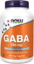 NOW Supplements, GABA (Gamma-Aminobutyric Acid) 750mg, Neurotransmitter Support*, 200 Veg Capsules