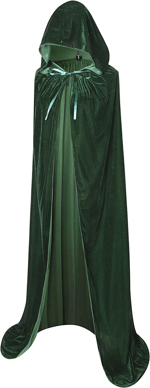 BIGXIAN Full Length Hooded Velvet Cloak Halloween Christmas Fancy Cape Costumes 59