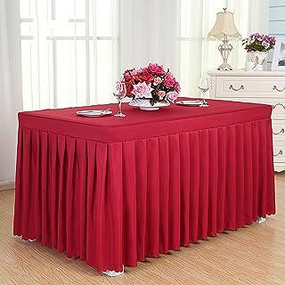 manteles del hotel, faldas de mesa de comedor en frío, manteles de conferencias, rectangulares, 120 * 60 * 75cm mantel ( Color : Rojo )