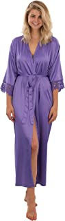 Clementine Lace Satin Robe, Lightweight Robe for Women, Long