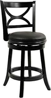 Boraam Florence Counter Height Swivel Stool, 24-Inch, Distressed Black