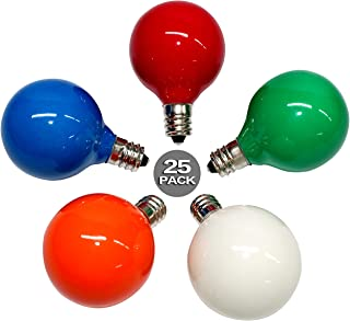 SkrLights 25PK G40 Globe Frosted Multi-Color Bulbs Globe Bulbs E12 Candelabra Screw Base 5W Light Bulbs, Warm Replacement Bulbs for G40 Strands, UL Listed for Indoor and Outdoor Usage