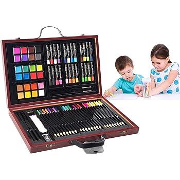 COSTWAY 80 Piezas Caja Pinturas Niños Caja de Papelería Set de Madera con Acuarela Lápices para Dibujo: Amazon.es: Hogar