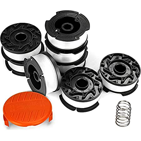 """Eventronic 10 Pack String Trimmer Replacement Spool, 240ft 0.065"""" AF-100 Autofeed Replacement Spools - Compatible with Black+Decker String Trimmers(8-Line Spool + 1 Cap+1 Spring)"""