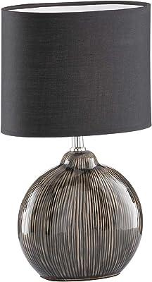 Fischer & Honsel 50049 Lampe de table, Céramique, Marron/Noir, 23 x 13 x 39 cm (LxBxH)