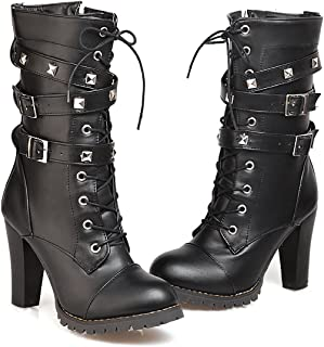 Women's Mid Calf Leather Boots High Heel Lace Up Military Buckle Motorcycle Cowboy Ankle Booties