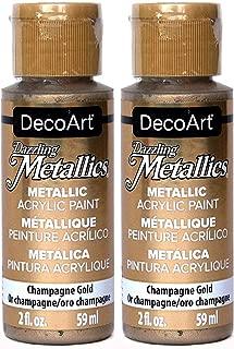 2-Pack - DecoArt Dazzling Metallics Acrylic Colors - Champagne Gold, 2-Ounces Each