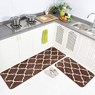 "Carvapet 2 Pieces Microfiber Moroccan Trellis Non-Slip Soft Kitchen Mat Bath Rug Doormat Runner Carpet Set, 20""x63""+20""x3..."