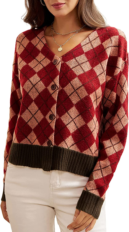 GRACE KARIN Women's V Neck Button Cardigan Sweaters Argyle Long Sleeve Cropped Knit Outwear