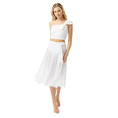 Carmen Marc Valvo Bowline Soiree Mesh Swing Skirt Double Layer with Sash Tie (White) Women