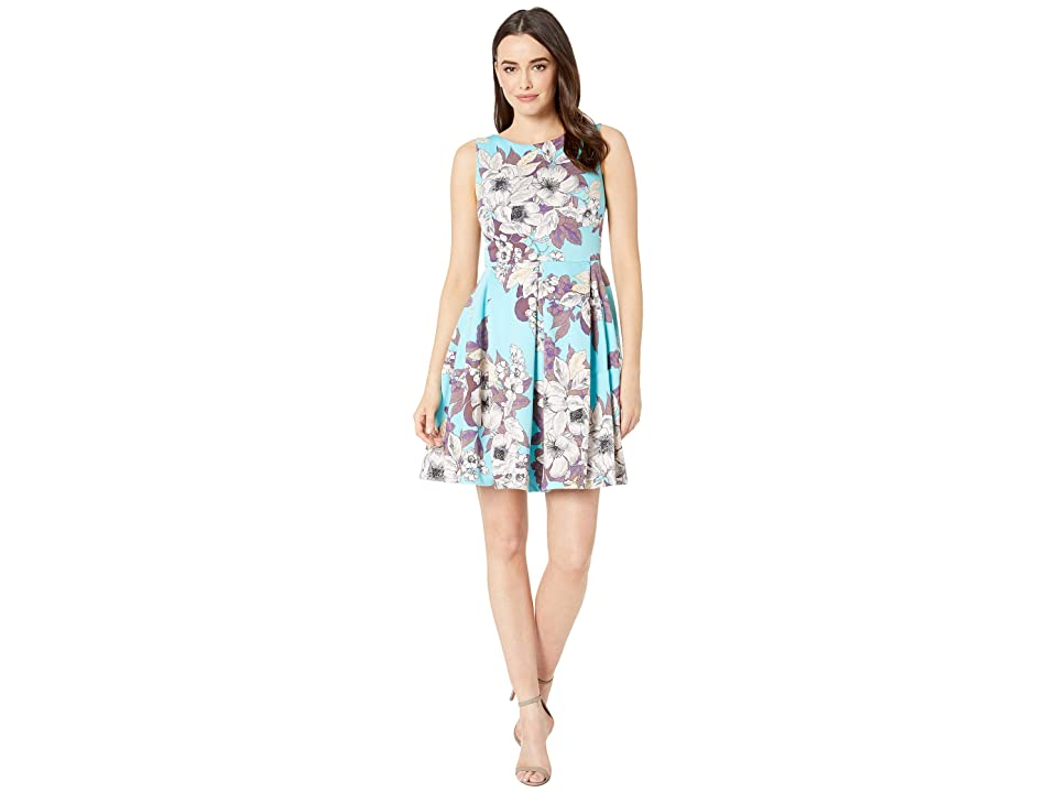 Taylor Sleeveless Floral Fit and Flare Dress (Turquoise/Multi) Women
