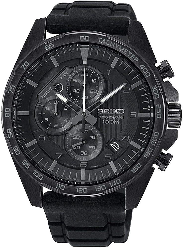 Seiko, orologio cronografo per uomo,con cinturino in silicone e cassa in acciaio inossidabile SSB327P1