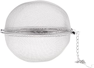uxcell ボール茶漉し 茶葉ストレーナー 家庭喫茶店 金属製 球形 メッシュチェーン付き フィルタ 9cmの直径