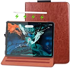 FYY Apple iPad Pro 11 (2018) Case [Support Apple Pencile Charging], Folio Leather Case Smart Cover with [Auto Sleep/Wake Feature] [Card Slots] and [Multiple Viewing Angles] Brown