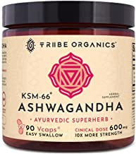 KSM-66 Organic Ashwagandha Capsules, Pure Root Powder Extract - 90 Vegetarian VCaps - Highest Potency 5% Withanolides - Stress & Anxiety Relief, Cortisol Manager, Adrenal Support, Thyroid Support