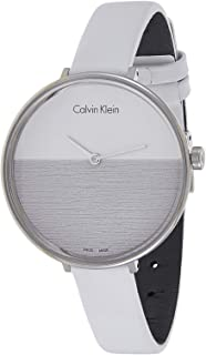 Calvin Klein Womens Quartz Watch, Analog Display and Leather Strap K7A231L6