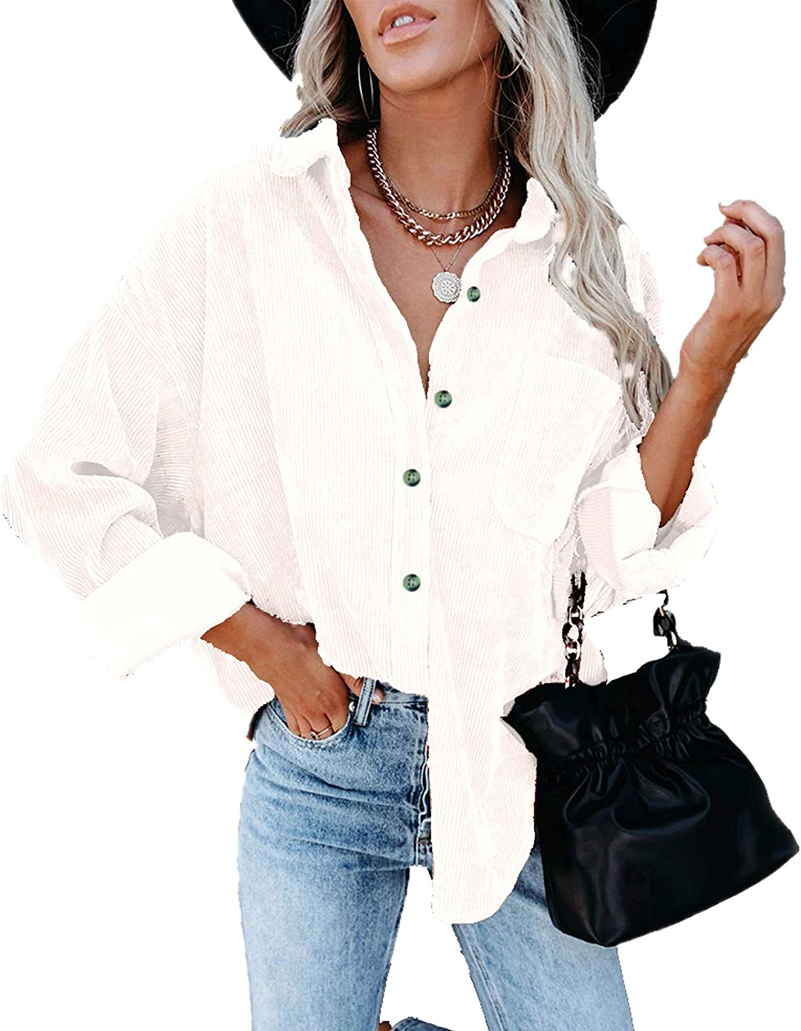 Women's Casual Long Sleeve Collared Shirts Tops Loose Fit Button Down Plain Outer Wear Blouses