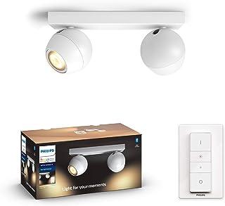 Philips Hue Buckram Barrra de 2 Focos Inteligentes LED blancos con Bluetooth, Luz Blanca de Cálida a Fría, Compatible con Alexa y Google Home