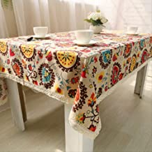 1 Pcs Cotton Linen Tablecloth National Wind Linen Cover Towel Fabric Home Decor For Kitchen Courtyard Wedding Dining Table...